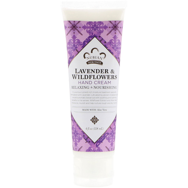 Nubian Heritage, Hand Cream, Lavender & Wildflowers, 4 oz (118 ml) (Discontinued Item)