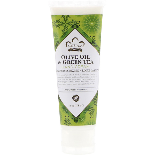 Nubian Heritage, Olive Oil & Green Tea Hand Cream, 4 fl oz (118 ml) (Discontinued Item)