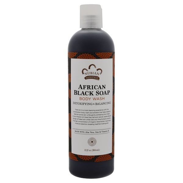 Nubian Heritage, Body Wash, African Black Soap, Detoxifying & Balancing, 13 fl oz (384 ml)