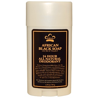 Nubian Heritage, 24 Hour All Natural Deodorant, African Black Soap with Aloe & Vitamin E, 2.25 oz (64 g)