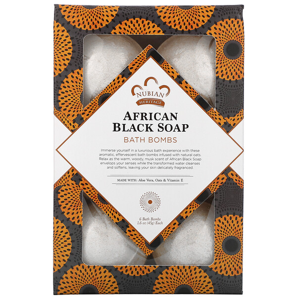 Nubian Heritage, African Black Soap, Bath Bombs, 6 Bath Bombs, 1.6 oz (45 g) Each (Discontinued Item)