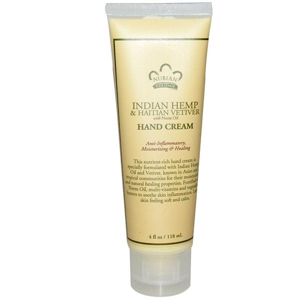 Nubian Heritage, Hand Cream, Indian Hemp & Haitian Vetiver, 4 fl oz (118 ml)