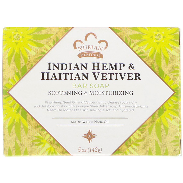 Nubian Heritage, Indian Hemp & Haitian Vetiver Bar Soap, 5 oz (142 g)