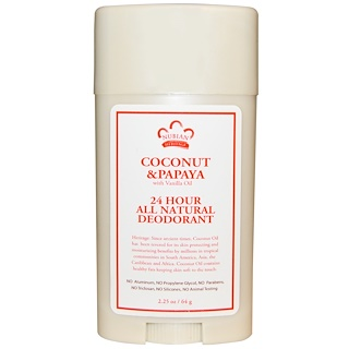 Nubian Heritage, 24 Hour All Natural Deodorant, Coconut & Papaya with Vanilla Oil, 2.25 oz (64 g)