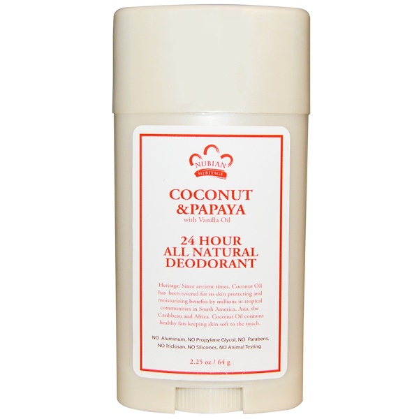 Nubian Heritage, 24 Hour All Natural Deodorant, Coconut & Papaya with Vanilla Oil, 2.25 oz (64 g)