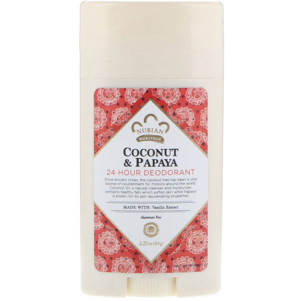 Nubian Heritage, 24 Hour Deodorant, Coconut & Papaya with Vanilla Oil, 2.25 oz (64 g) (Discontinued Item)