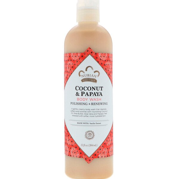 Nubian Heritage, Body Wash, Coconut & Papaya, 13 fl oz (384 ml)