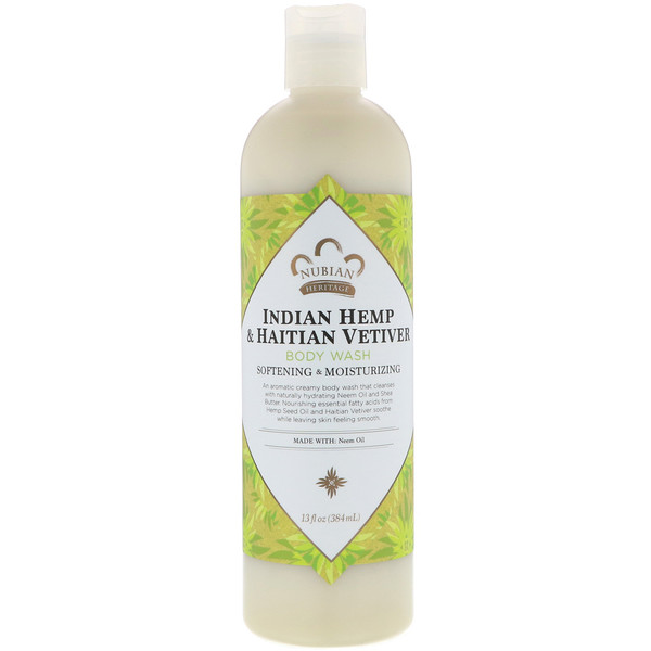 Nubian Heritage, Body Wash, Indian Hemp & Haitian Vetiver , 13 fl oz (384 ml) (Discontinued Item)