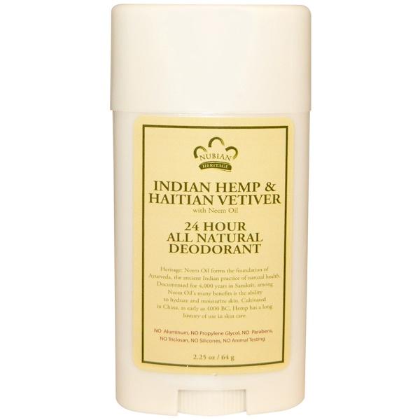 Nubian Heritage, Действующий в течение 24 часов в сутки природный дезодорант, индийская конопля и гаитянский ветивер с маслом нима, 2,25 унций (64 г)