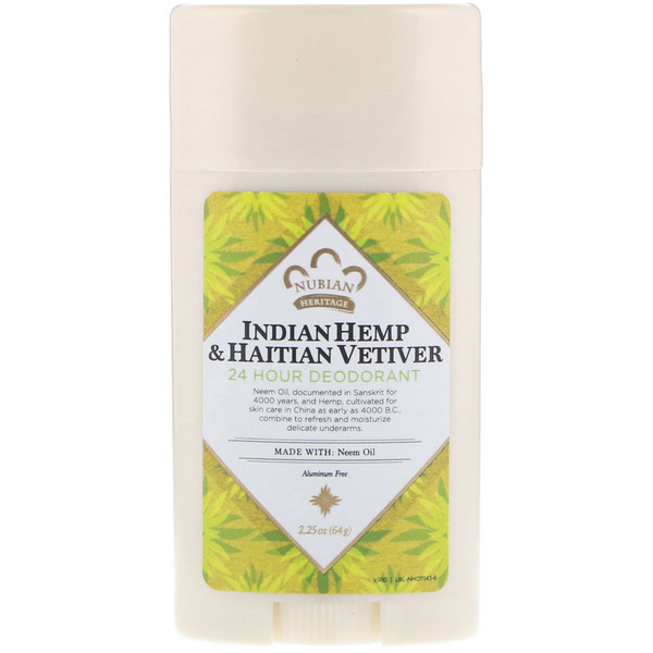 Nubian Heritage, 24 Hour Deodorant, Indian Hemp & Haitian Vetiver, 2.25 oz (64 g)