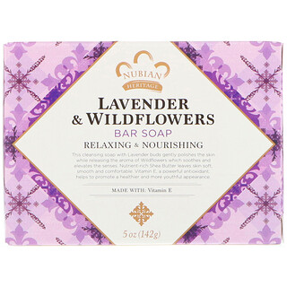 Nubian Heritage, Lavender & Wildflowers Bar Soap, 5 onces (142 g)