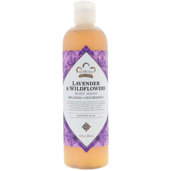 Nubian Heritage, Body Wash, Lavender & Wildflowers, 13 fl oz (384 ml)