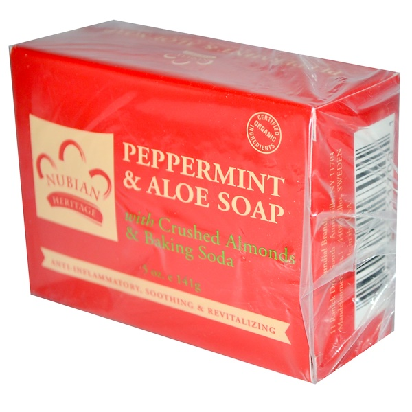Nubian Heritage, Peppermint & Aloe Soap, 5 oz (141 g)