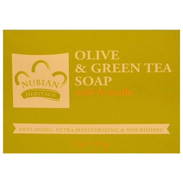 Nubian Heritage, Мыло с оливковым маслом и зеленым чаем, 5 унций (141 г)