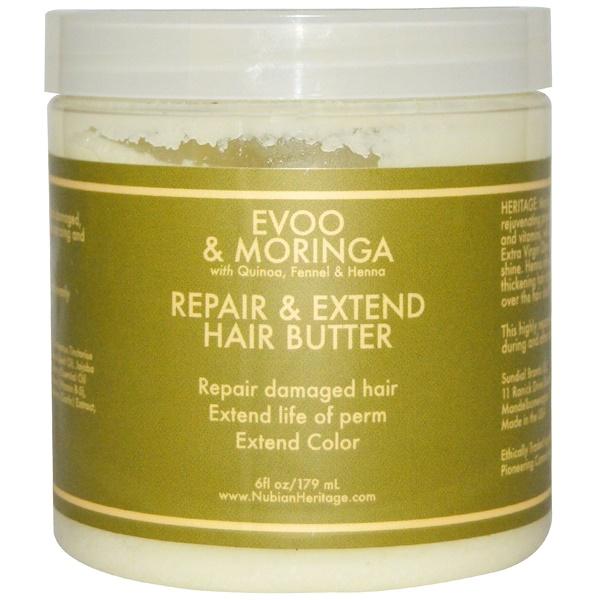 Nubian Heritage, Восстанавливающее масло для волос с маслом оливы и моринги, 6 жидких унций (179 мл) (Discontinued Item)