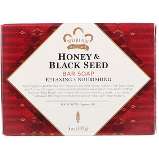 Nubian Heritage, Honey & Black Seed Bar Soap, 5 oz (142 g)