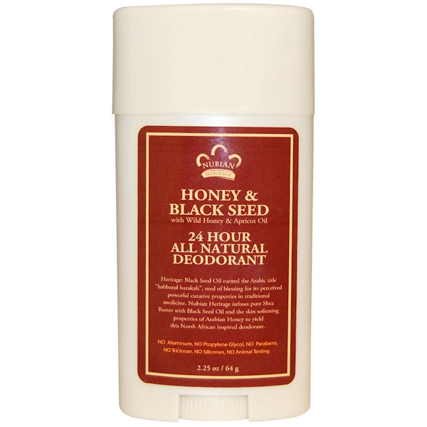 Nubian Heritage, 24 Hour All Natural Deodorant, Honey & Black Seed with Wild Honey & Apricot Oil, 2.25 oz (64 g)