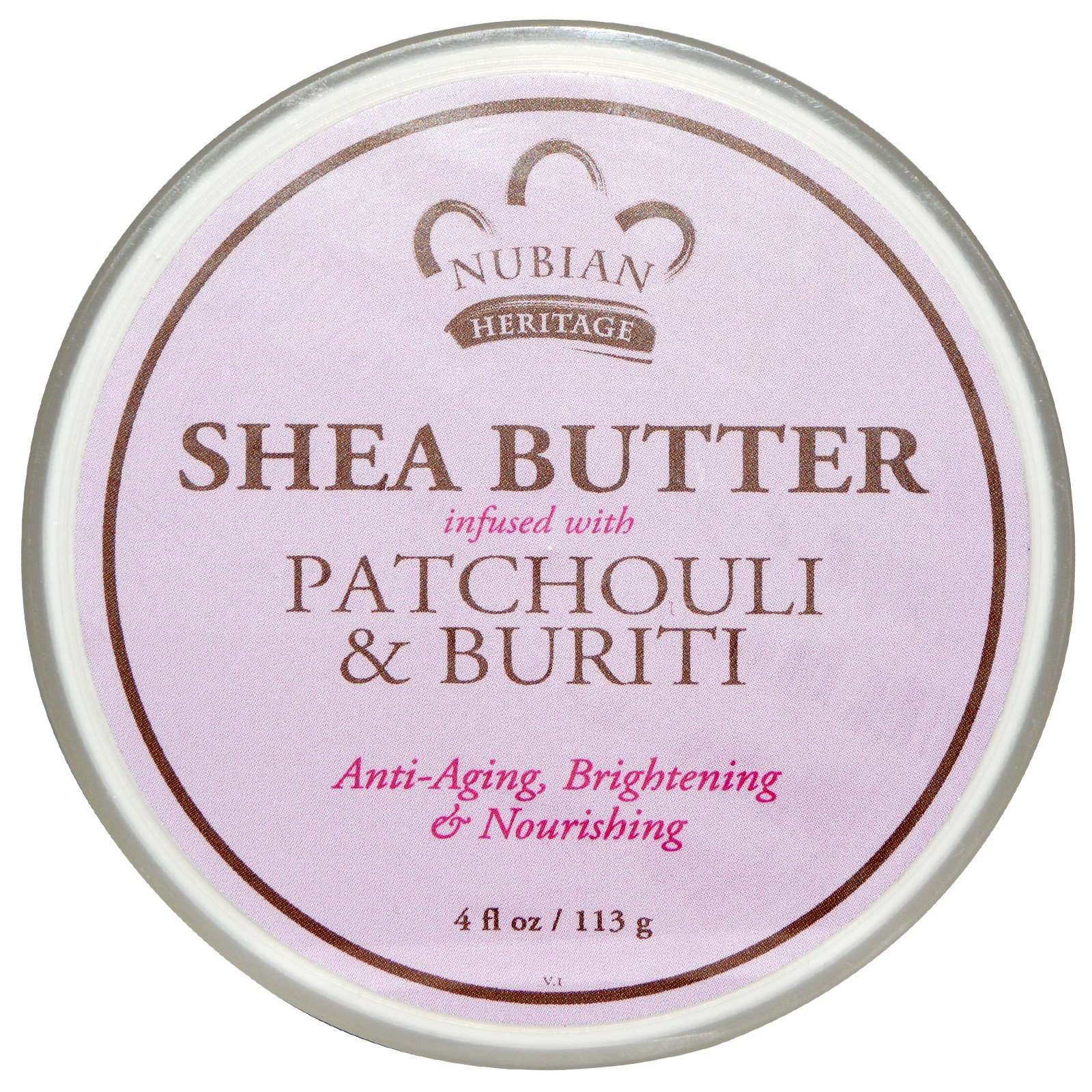 Nubian Heritage, Shea Butter Infused with Patchouli & Buriti, 4 fl oz (113 g) Масло масляного дерева с добавлением Пачули и Бурити, 4 жидкие унции (113 г)