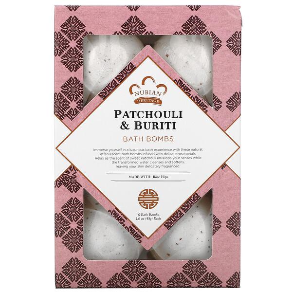 Patchouli & Buriti, Bath Bombs, 6 Bath Bombs, 1.6 oz (45 g) Each