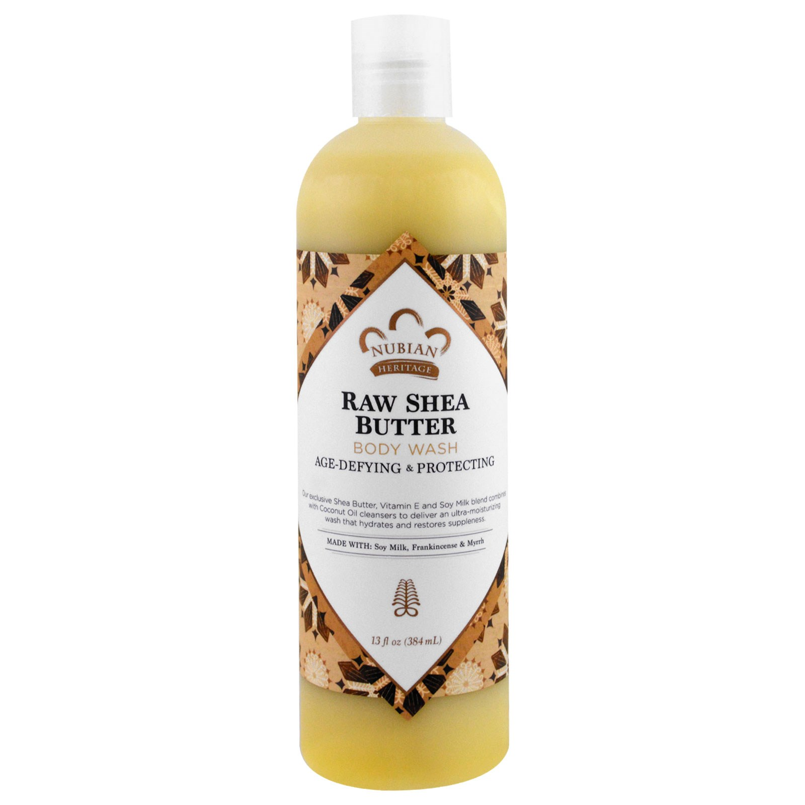 Nubian Heritage, Гель для душа с маслом ши, соевым молоком, витамином Е, ладаном и миррой, 13 жидких унций (384 мл)