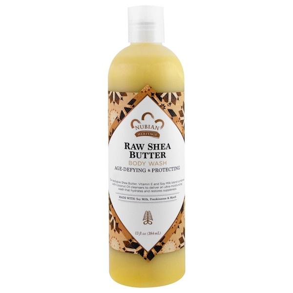 Nubian Heritage, 沐浴露,天然乳木果潤,含豆乳、維生素E、乳香和沒藥,13液量盎司(385毫升)