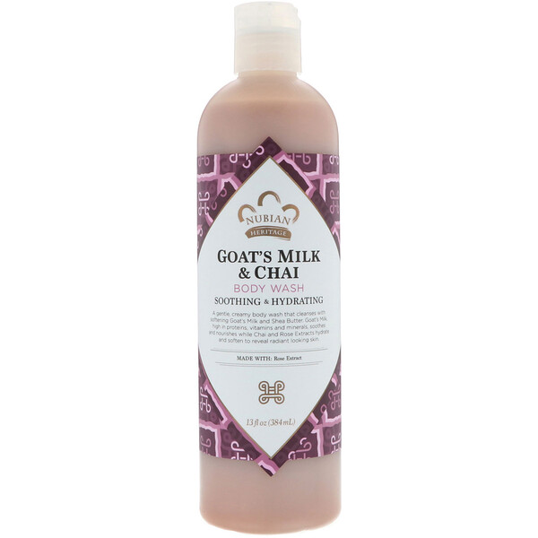 Nubian Heritage, Body Wash, Goat's Milk & Chai, 13 fl oz (384 ml)