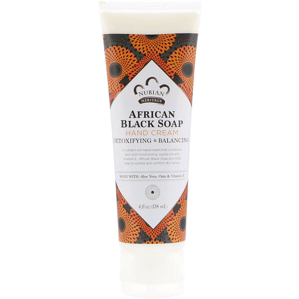 Nubian Heritage, African Black Soap, Hand Cream, 4 fl oz (118 ml)