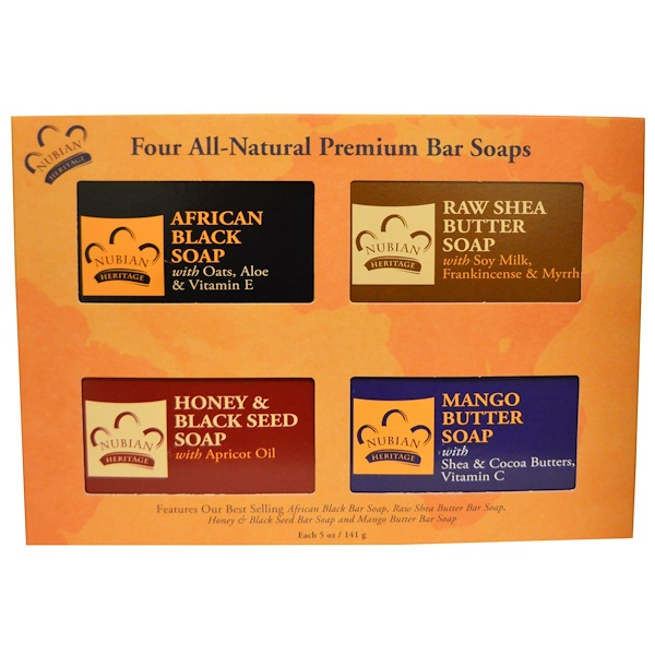 Nubian Heritage, All Natural Premium Bar Soaps, 4 Bars, 5 oz (141 g) Each (Discontinued Item)