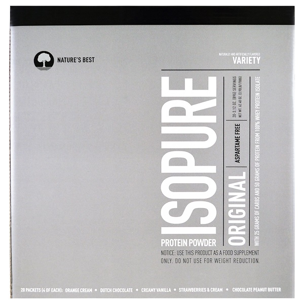 Isopure, IsoPure Protein Powder, Original, Variety, 20 Packets, 3.12 oz (89 g) Each (Discontinued Item)