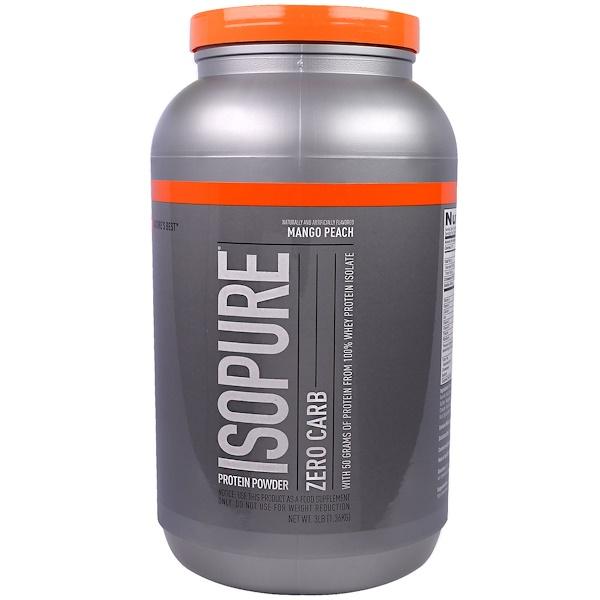 Nature's Best, IsoPure, Протеиновый порошок Isopure, не содержит углеводов, манго и персик, 3 фунта (1361 г) (Discontinued Item)