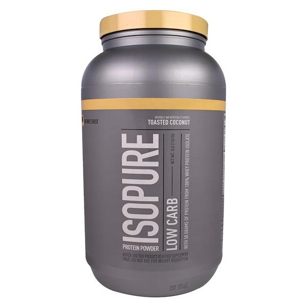 Nature's Best, IsoPure, 蛋白粉,低碳,烤椰子,3磅(1361克)
