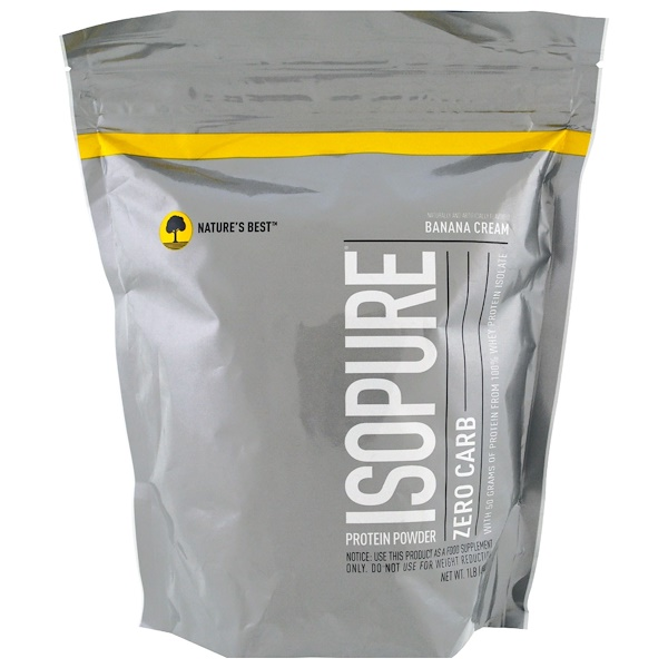 Nature's Best, IsoPure, Zero Carb Protein Powder, Banana Cream, 1 lb (454 g)