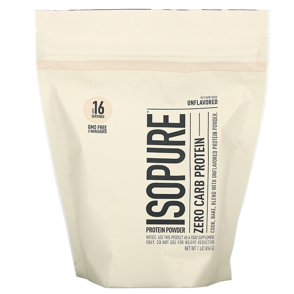 Isopure Protein Powder, Zero Carb Protein, Unflavored, 1 lb (454 g)