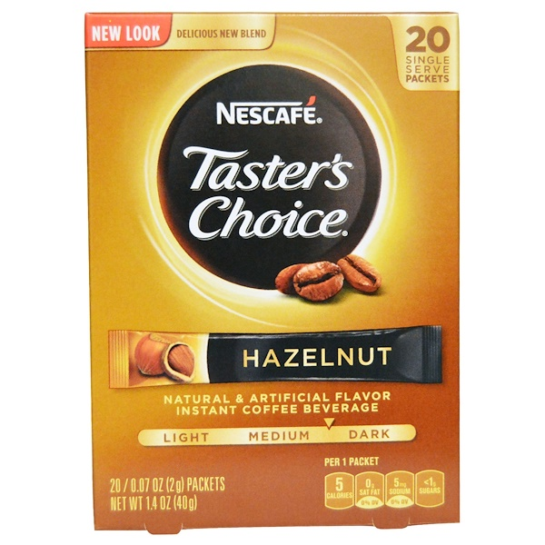Nescafé, Taster's Choice, Instant Coffee Beverage, Hazelnut, 20 Packets, 0.07 oz (2 g) Each (Discontinued Item)