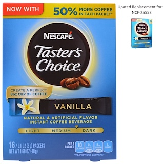 Nescafé, Taster's Choice, Instant Coffee Beverage, Vanilla, 16 Packets, 0.1 oz (3 g) Each