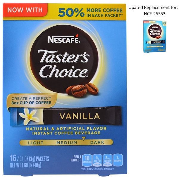 Nescafé, Taster's Choice, Instant Coffee Beverage, Vanilla, 16 Packets, 0.1 oz (3 g) Each (Discontinued Item)