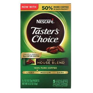 Nescafé, Tasters Choice، مزيج منزلي منزوع الكافيين، تحميص متوسط خفيف، 5 أكياس، 0.1 أونصة (3 جم) لكل كيس