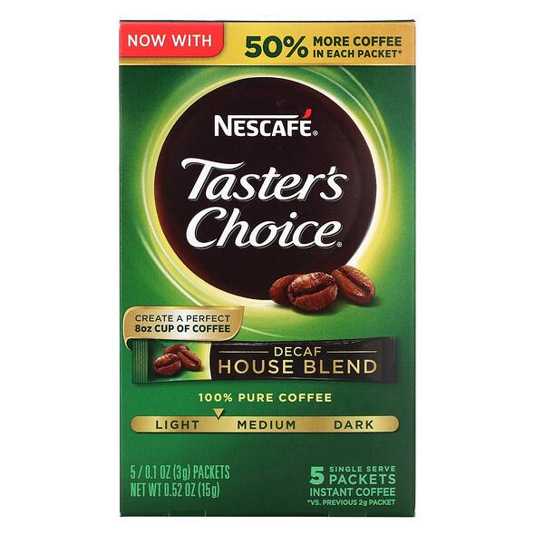 Nescafé, Tasters Choice, Decaf House Blend, Medium Light Roast, 5 Packets, 0.1 oz (3 g) Each
