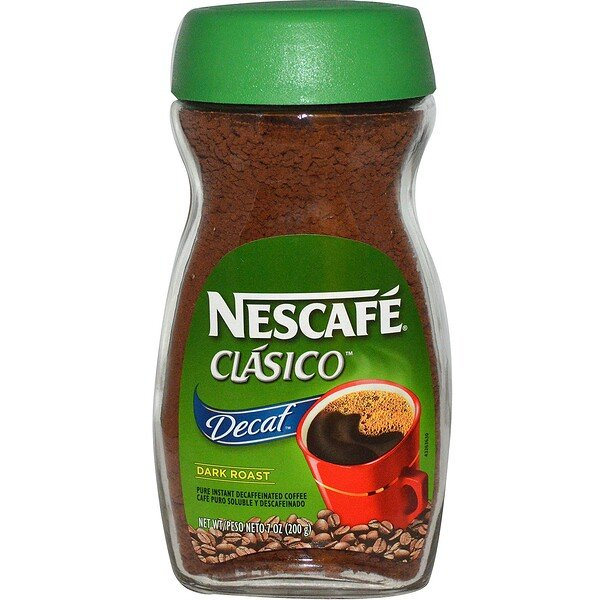 Clasico, Pure Instant Decaffeinated Coffee, Decaf, Dark Roast, 7 oz (200 g)