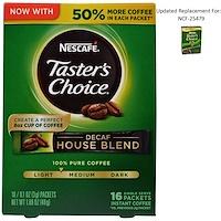 Тэйстерс Чойс, Растворимый Кофе, Декаф Хаус Бленд, 16 пакетиков, 0.1 унций (3 гр) каждый - фото