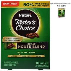 Nescafé, テイスターズチョイス、インスタントコーヒー、デカフェ・ハウスブレンド、1杯分16 袋入り、1袋あたり0.1 オンス (3 g)