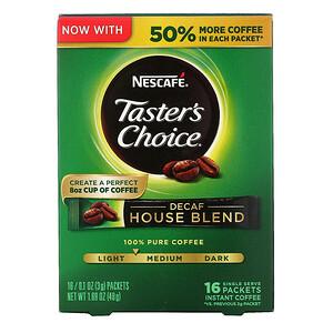 Нескафе, Taster's Choice, Instant Coffee, Decaf House Blend, 16 Single Serve Packets, 0.1 oz (3 g) Each отзывы покупателей