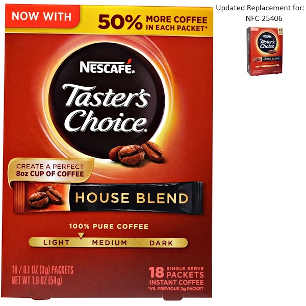 Nescafé, Taster's Choice, Instant Coffee, House Blend, 18 Single Serve Packets, 0.1 oz (3 g) Each (Discontinued Item)
