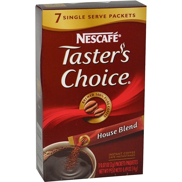 Nescafé, Taster's Choice, Instant Coffee, House Blend, 7 Packets, 0.07 oz (2 g) Each (Discontinued Item)