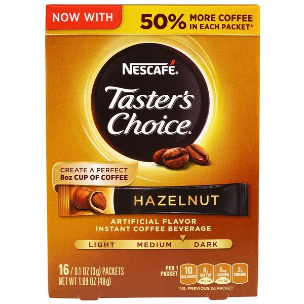 Nescafé, Taster's Choice, Instant Coffee Beverage, Hazelnut, 16 Packets, 0.1 oz (3 g) Each