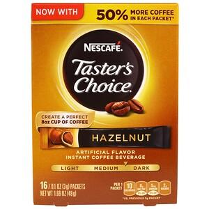 Нескафе, Taster's Choice, Instant Coffee Beverage, Hazelnut, 16 Packets, 0.1 oz (3 g) Each отзывы покупателей