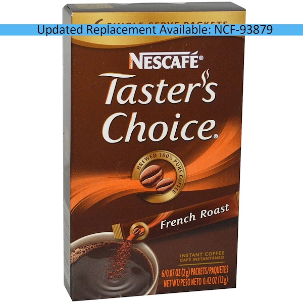 Nescafé, Taster's Choice, Instant Coffee, French Roast, 6 Packets, 0.07 oz (2 g) Each (Discontinued Item)