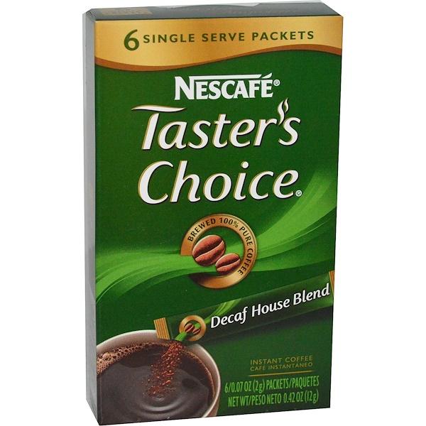 Nescafé, 테이스터스 초이스, 인스턴트 커피, 무카페인 하우스 블랜드, 6 패킷, 각 0.07 온스 (2g) (Discontinued Item)