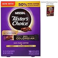 Taster's Choice, растворимый кофе, 100% колумбийский, 16 порционных пакетиков, по 0,1 унции (3 г) каждый - фото
