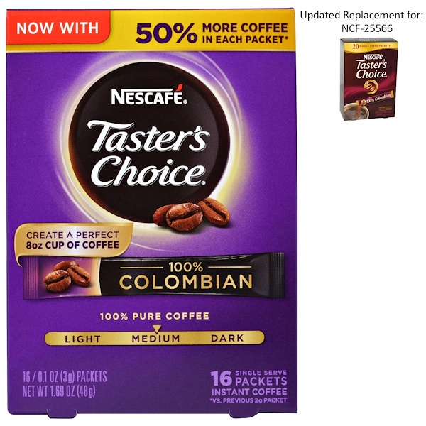 Nescafé, Taster's Choice, Instant Coffee, 100% Colombian, 16 Single Serve Packets, 0.1 oz (3 g) Each